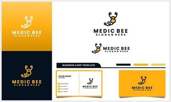 honey bee with medical stethoscope logo concept and business card template set vector