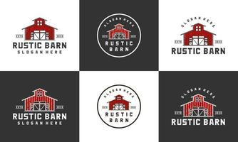 rustic barn logo design template with multi style collections set vector
