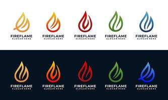 fire and flame logo design template with multi colors collection vector