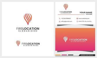 Diseño de logotipo de fuego y llama con concepto de ubicación de pin y conjunto de plantillas de tarjeta de visita