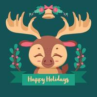 Christmas illustration with a cute moose and festive banner vector