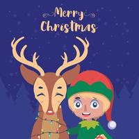 Christmas greeting with happy elf and reindeer vector