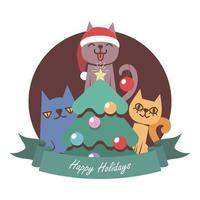 Christmas greeting with three funny cartoon cats vector