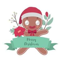 Jolly gingerbread cookie man with festive banner vector