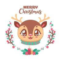 Cute Christmas greeting with a cheerful reindeer vector