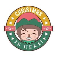 Funny Christmas greeting with cute cartoon elf vector