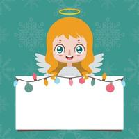 Jolly angel holding up a blank sign vector