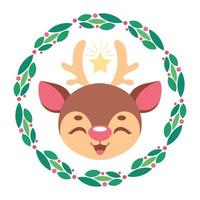 Illustration of a cute reindeer with stylized Christmas wreath vector