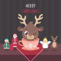 Christmas scene with a cute reindeer and wooden dolls vector