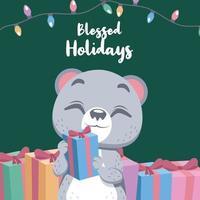 Cute Christmas greeting with a happy polar bear vector