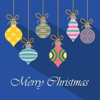 Christmas greeting with colorful ornaments vector