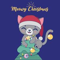 Christmas illustration with a cute mischievous cat on top of a tree vector