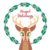 Simple Christmas greeting with reindeer vector