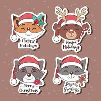 Christmas stickers with joyful animals vector