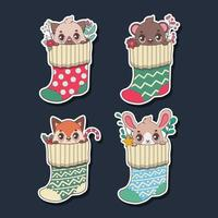 Sticker set of cute animals in stockings vector