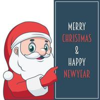 Jolly Santa holding up a sign with festive text vector