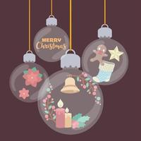 Transparent festive baubles filled with Christmas elements vector