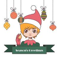 Jolly Christmas elf with baubles and festive sign vector