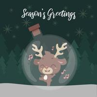 Cute jolly reindeer inside a transparent glass globe vector