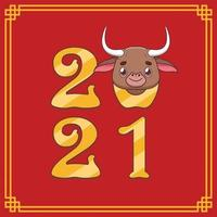 Happy Chinese New Year 2021 with cute ox vector