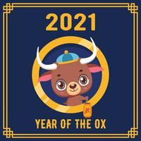 Happy Chinese New Year 2021 greeting with cute ox vector
