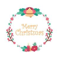 Seasons greetings with a lovely wreath and text vector