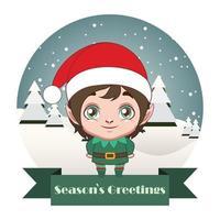 Cute Christmas elf boy with festive banner vector