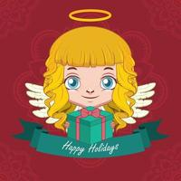 Christmas greeting with a happy angel holding a gift vector