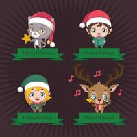 Four different Christmas banners with characters vector