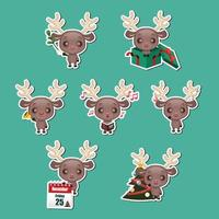 Set of cute Christmas reindeer stickers vector