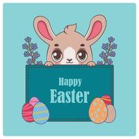 Illustration of a peeking easter bunny and festive banner vector