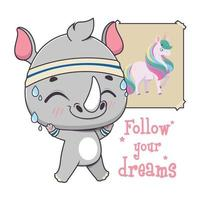 Cute funny rhino doing fitness to achieve their dreams vector