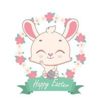 Happy easter bunny with floral wreath and festive banner vector