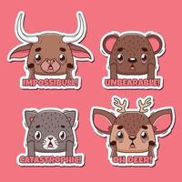 juego de pegatinas de juego de palabras con animales divertidos y sorprendidos vector
