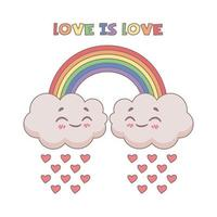 Cute illustration of the love is love expression vector