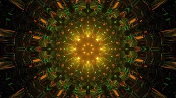 Ilustração 3D do túnel em movimento com reflexo de luzes