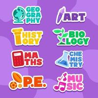 Stickers Set of School Subjects