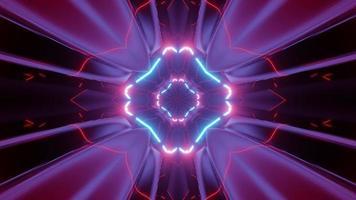 Ilustración 3 d de abstracción de adornos geométricos con lámparas de neón