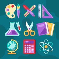 School Subjects Icons Set vector