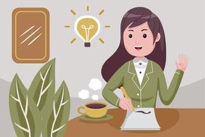 Young woman writes ideas on a paper. vector