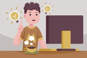 Young businessman having a brilliant idea. vector