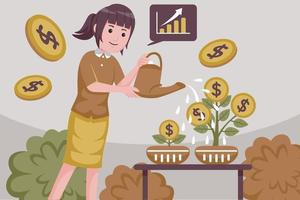 Young attractive smiling successful woman showers coin investments. vector