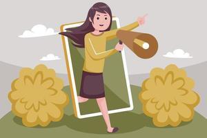 mujer atractiva promueve su negocio con smartphone vector