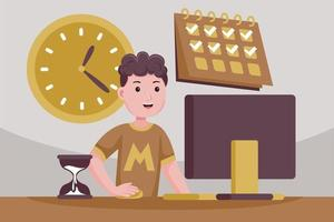 hombre exitoso en control de tareas y tiempo. vector