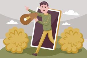 hombre atractivo promueve su negocio con smartphone vector