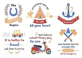 Tourism and vacation vintage-style illustration set vector