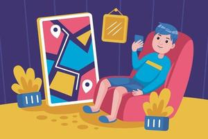 Young man sits back to buy products with smartphone vector