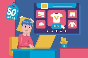 Young man sits back to buy products with laptop vector