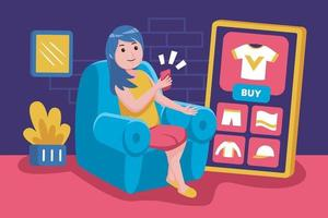 Young woman sits back to buy products with smartphone vector