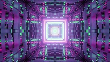 uma ilustração 3D de um corredor brilhante em forma de quadrado em movimento video
